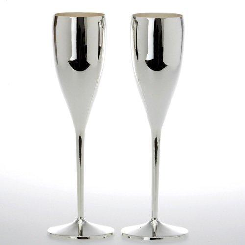 Sektkelche versilbert 2er Set Sektflöten Champagnerflöten Silber Silberne Sektgläser