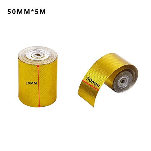 CWeep Decorative Foil Sealing Insulation Tape Automotive Exhaust Pipe Decorative Tape Heat Shield Wrap Tape Gold Aluminum Foil Tape (A:50mm*5m)