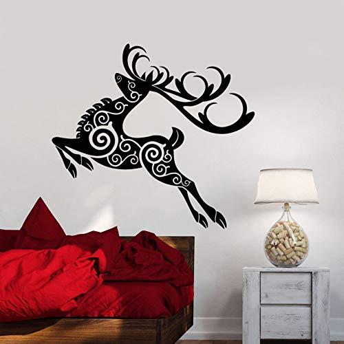 zqyjhkou Vinyl Wandtattoo Abnehmbare Hirsch Tier Wandaufkleber Dekor Weihnachten Abstrakte Wald Wandaufkleber Hirsch Ornament Kunstwand Ay583 57x52 cm