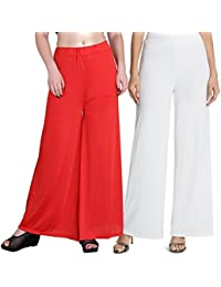 Mango People Products Indian Ethnic Rayon Designer Plain Casual Wear Palazzo Pant For Women's ( Orange And White...