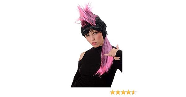 WIG ME UP PT0028-P103//PC5 Dame Homme Perruque Halloween Carnaval ann/ées 80 Pop Punk Wave Iroquoise Longue Noire et Rose