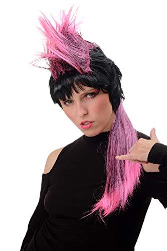 WIG ME UP - PT0028-P103/PC5 Damen Herren Perücke Halloween Karneval 80er Jahre Pop Punk Wave Iro lang Schwarz Pink