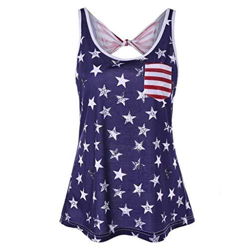 Cooljun 4. Juli Shirts Frauen plus Größe Unabhängigkeitstag rückenfreie USA patriotisch ärmellose Sommer Weste Tops