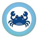 Kommodenknauf Möbelknopf Möbelgriff Möbelknauf Jungen hellblau dunkelblau blau Massivholz Buche - Kinder Kinderzimmer Krabbe blau Meerestiere maritim - mittelblau