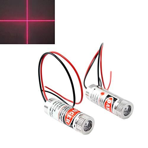 WayinTop 2 Stücke Fokussierbare Lasermodul Kreuzlaser Fokus Einstellbar Laser Rot 3-5V 650nm mit Kunststoff Linsen (Kreuzlaser)