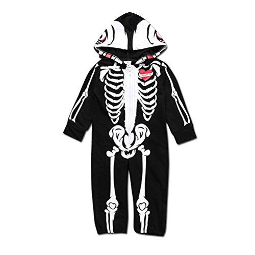 Verkleidung Halloween Skelett Kleidung Unisex Junge Mädchen Hoodie Sleeper (Kinder Skelett Hoodie)