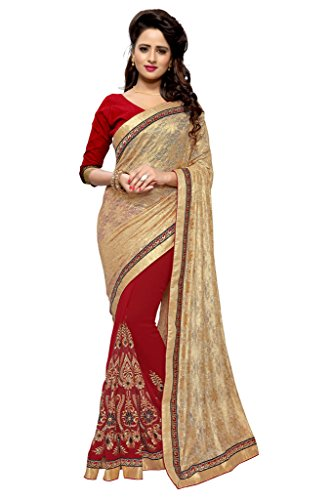 SOURBH Women's Jacquard and Faux Georgette Half Half Saree (2461_Beige,Red)  available at amazon for Rs.1295