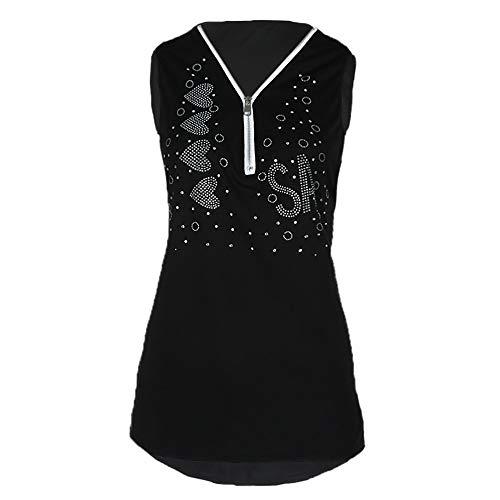 IZHH Ladies Sommer Zipper Sleeveless Vest Tank Blouse Pullover Tops Shirt Camisole