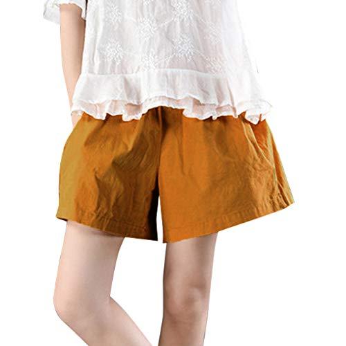 WOZOW Clearance Shorts Kurze Hose Damen Solid Lose Loose Casual A Line Baggy Pyjama Weites Bein Palazzo Trousers High Waist Mini Hosen Summer (4XL,Ginger Yellow)