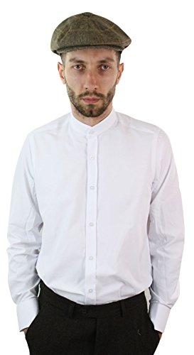 Giobellini camicia da uomo con colletto alla coreana rimovibile vintage peaky blinders bianco s(torace 92-98cm)