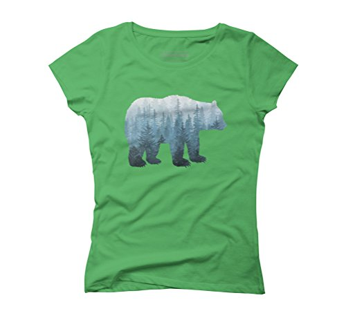 Misty Forest Bear - Turquoise Women's Graphic T-Shirt - Design By Humans Green