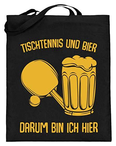 Kleidungskulisse Tischtennis Und Bier Darum Bin Ich Hier Bier Sport Party Feiern Trinkspiele Lustig - Jutebeutel (mit langen Henkeln) -38cm-42cm-Schwarz