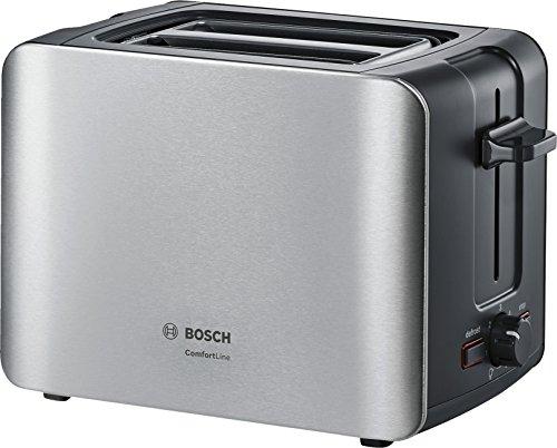 Bosch TAT6A913Grille-Pain compact Comfort Line, centrage du pain automatique, fonction décongélation, 1090W, acier inoxydable/noir