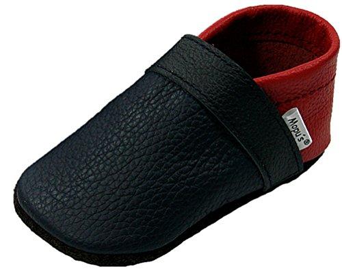 Mopu\'s® Krabbelschuhe - Lederpuschen in blau/rot - handgemachte Markenqualität aus Deutschland