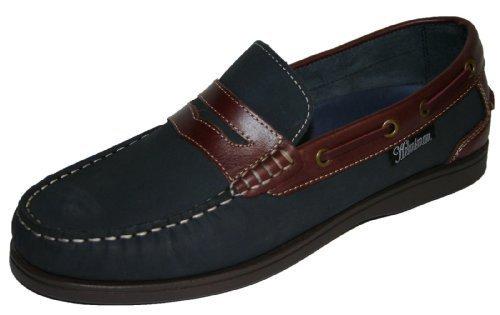 Mens Coolers Helmsman 72015 Leather Deck Shoes Navy Blue and Redwood UK 8 - Redwood-deck