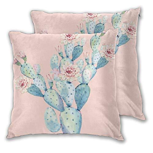 Jacklee Kissenbezüge, 2 Stück, Kissenbezüge, Muscheln für Couch Sofa, Heimdekoration Rose Desert Cactus On Pink 45cm x 45cm Desert Rose Floral