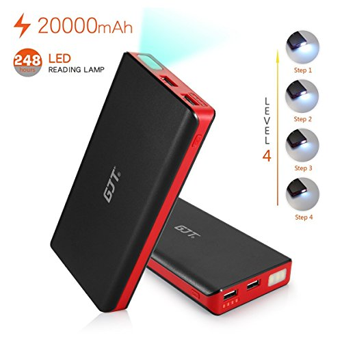 GJT®20000mAh Power Bank 4 LED Light Backup External Battery Portable Charger Dual USB Port for Apple iPhone 6, 6 Plus 5S 5C 5 4S 4, Retina iPad Air Mini 2, HTC One, One 2 (M8), Samsung Galaxy S6 S6 edgeS5 S4 S3, Tab 4 3 2 Pro, Nexus 10 , MOTO X G Droid,PS Vita,Motorola Razr;LG and more Smartphones & Tablets(Black)  available at amazon for Rs.4299