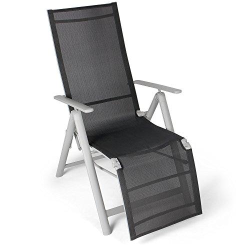 Vanage Alu Gartenstuhl mit Fußableger in schwarz - Klappstuhl  - Hochlehner -Stuhl für Garten, Terrasse und Balkon geeignet