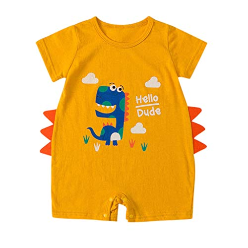 geborenes Baby Scherzt Mädchen Karikatur Säuglings Spielanzug Ausstattungs Kleidung Comic Dinosaurier Muster New Strampler Baby Kurzarm Overall Baumwolle Roben Dünnes Sommer ()