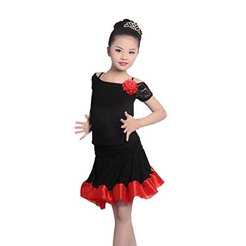 GBDSD Latin Dance Kleidung Mädchen Praxis Röcke Spitze Kinder Gesellschaftstanz Wettbewerb Show Dance Performance-Bekleidung , 4xl (Wettbewerb Der Kostüme Ballett)
