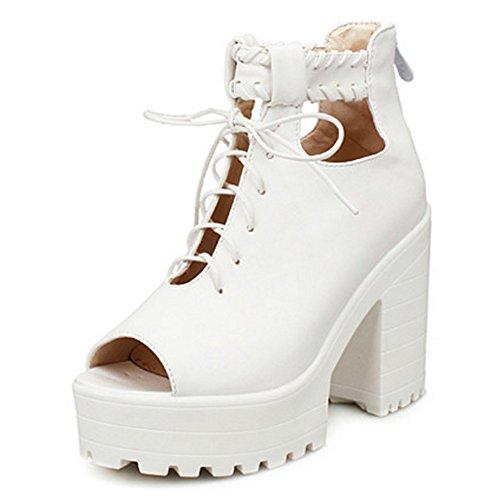 COOLCEPT Damen Mode Schnurung Sandalen Peep Toe Blockabsatz Schuhe Mit Zipper White