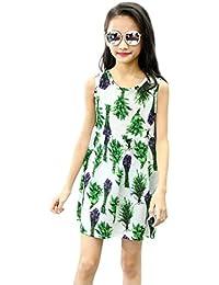 Niña vestido,Sonnena Bohemian floral impresión vestido de sin manga lindo vestido de playa de verano sundress para chica joven…