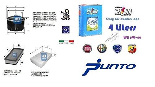 Kit filtri tagliando UFI Punto EVO 1.4 Natural Power 57 Kw + 4 Litri Olio Selenia Multipower 5W40