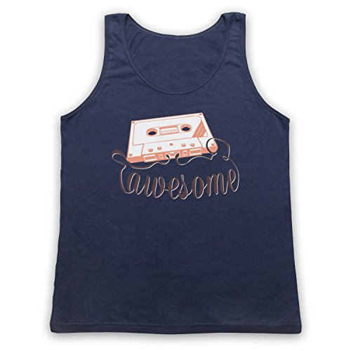 My Icon Art & Clothing Cassette Tape Awesome Text Camiseta de Tirantes, Azul Marino, Small