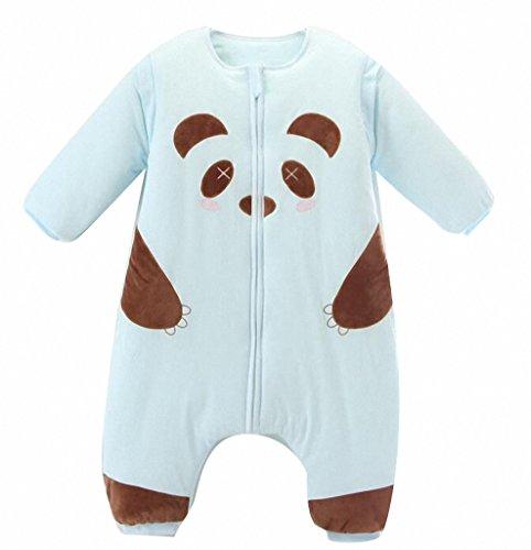 Baby winter Schlafsack Kinderschlafsack Baumwolle babyPyjama langarm Wattierter Strampler panda Junge Mädchen unisex Frühling Herbst winter overall . Babyschlafanzug ,Multicolor. (M: 85cm(1-2 Jahre alt), Blau)