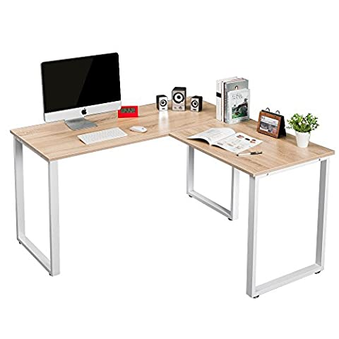 LIFE CARVER Sturdy Large L-Shaped Office Desk Corner Computer Desk Workstation for Home Office, Wood & Metal