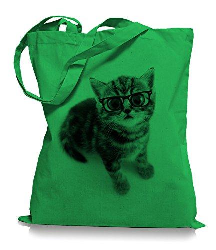 Ma2ca® Cat Big Eyes Stoffbeutel Jutebeutel Tasche Tragetasche / Bag WM101 Kelly