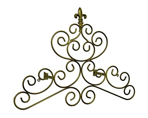 Bronze-Finish Fleur de Lis Scroll Draperie Krone/Wandschild 23in. (Bronze Schal Fenster)
