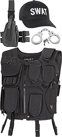 SWAT Costume including Tactical Vest, Pistol Leg Holster Handcuff And Cap black Size:M/L