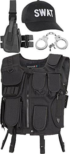 Imagen de swat disfraz incluido chaleco, pistola pierna funda esposas y cap,  black, m/l