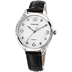 Comtex Women's Wrist Watch Silver Tone with Black Leather Band Strap Water Resistant