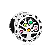Uniqueen Birthstone Crystal Tree of Life Family Love Beads Fits Charm Bracelet Gifts (Colorful)
