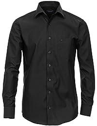 Langarm Slim Fit Hemd schwarz 100% Baumwolle Kentkragen TAILLIERT