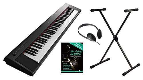 Yamaha Piaggero NP-32 Portable Piano Set (76 anschlagdynamische Tasten, 10 Top-Sounds, Record-Funktion, inkl. Keyboardständer, Kopfhörer und Klavierschule, USB, Batteriebetrieb möglich) schwarz