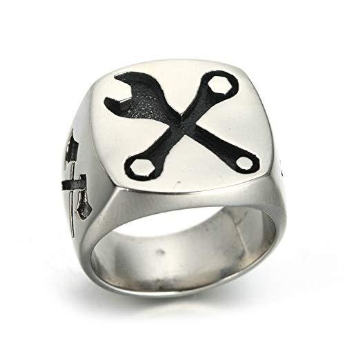 Aeici Edelstahlringe Herren Breit Siegelring Gravierte Werkzeuge Ringe Silber(Glatt) Ringgröße 60 (19.1) -