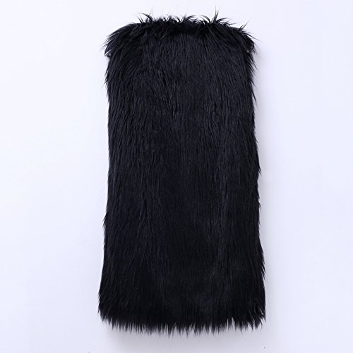 iBaste Lunga Donna Gilet Pelliccia Pelo Elegante Cappotto Senza Maniche Pelliccia Sintetica Giacca Nero