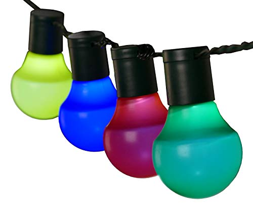 LED Party-Lichterkette 12,5 m mit 50 Kugel-Laternen bunt innen außen von Gartenpirat® (Led-party-laterne)