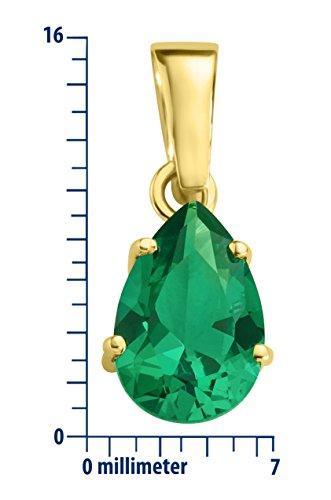Miore - Collier avec pendentif - Or jaune 9 cts Émeraude