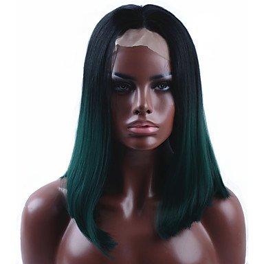 HJL-Sombre vert tout droit court Bob synth¨¦tique Lace perruque Front naturel noir/vert r¨¦sistant ¨¤ la chaleur perruque de cheveux pour les femmes
