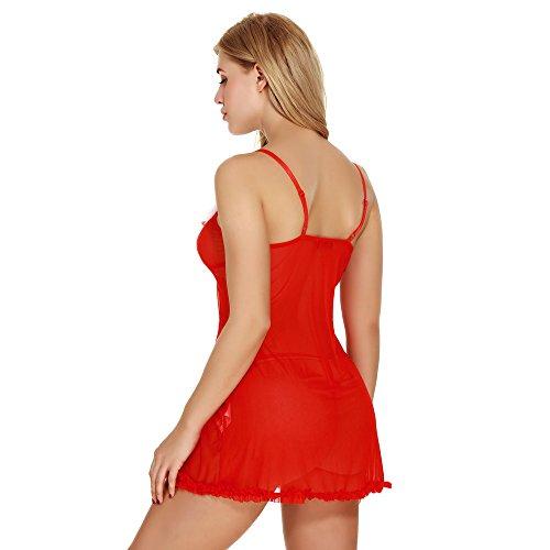 sous-Vêtements Lilicat Femmes Santa Lingerie Noël Rouge Body Halter Dentelle Chemise de Nuit S-2XL Red-2