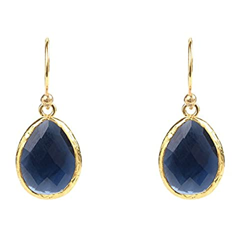 Gold Petite Drop Earring Sapphire Hydro