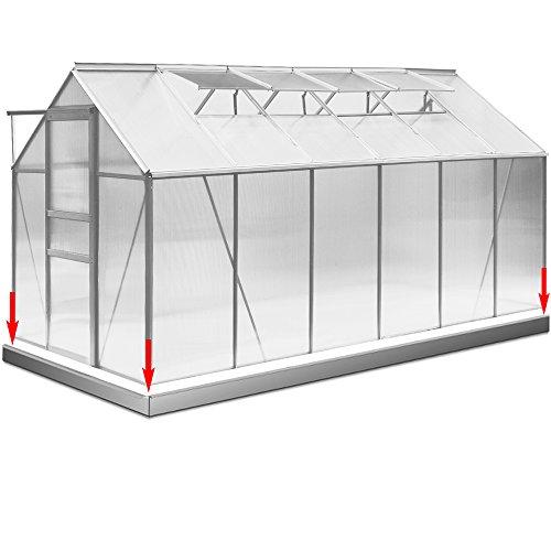 Deuba Aluminium Gewächshaus 11,73m³ mit Fundament Treibhaus Gartenhaus Frühbeet Pflanzenhaus...