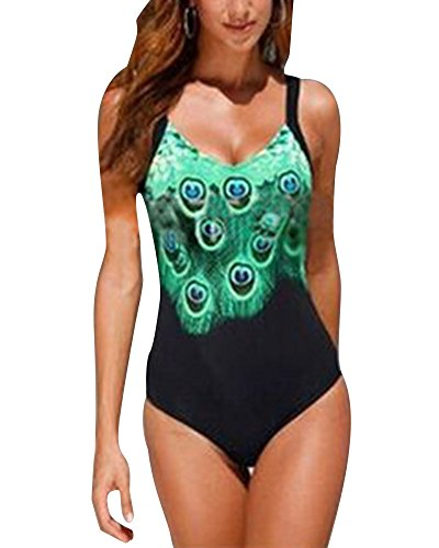 Damen Einteiler Bademode Pfau Drucken Schwimmanzug Plus Size Rückenfrei V-Ausschnitt Schlankheits Badeanzug Monokini Badebekleidung Schwarz L