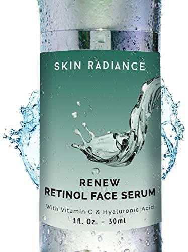 Sérum de visage Premium au rétinol à 2,5%, avec vitamine C et acide hyaluronique, par Skin Radiance. Pour combattre le vieillissement, traiter les cicatrices d'acné et les cernes. Végan.