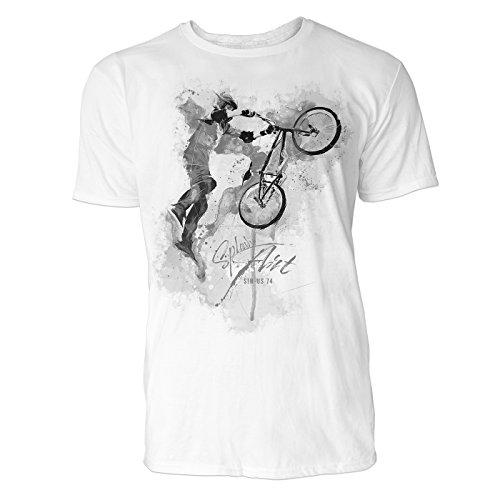 BMX Rad Tailwhip Sinus Art Herren T Shirt (Schwarz Weiss) Sportshirt Baumwolle