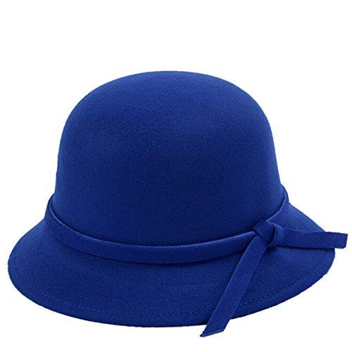 Butterme Donne Lady Vintage lana rotonde Fedora arco Cloche Derby secchio cappelli Cappelli (Blu)